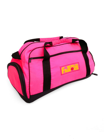 Classic 80s Neon Pink World Famous Duffle Bag