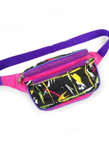 Abstract 80s Neon Brush Stroke Colorblock Fanny Pack - 24 to 36