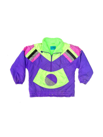 SOLD - Totally Rad 80s Action Gem Neon Geometric Ski Jacket - L
