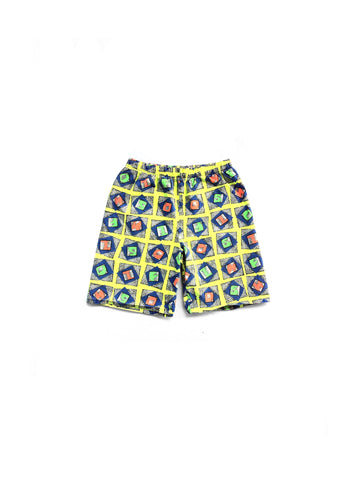 SOLD - Wild 80s Neon Allover Print Radical Alphabet Cotton Shorts - 24 to 32