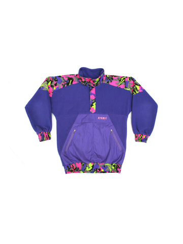 SOLD - Rad 90s Neon Abstract Atomic Fleece Pullover - M / L
