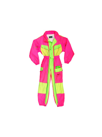 SOLD - Gnarly 80s Full Neon Italian Greif Disco Club Snow Suit - 46 / S