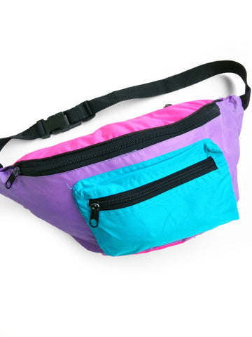 SOLD - Rad 90s Neon Pastel Pouch'd Out Nylon Fanny Pack - 26 to 38