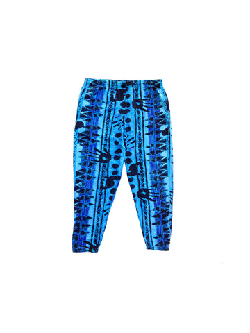 SOLD - Blue Breakers 80s Hand Splat Beach Workout Muscle Hammer Pants - 34 to 40