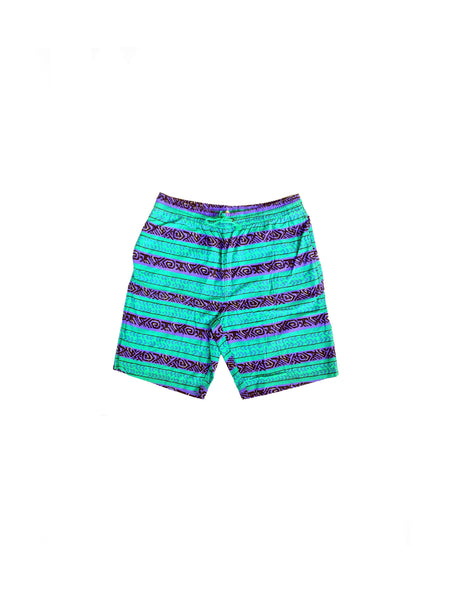Crisp 80s Neon Accented Unbranded Tribal Print Board Shorts - 36 to 40