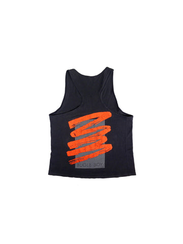 Distressed 80s Neon Orange Bugle Boy Crackled Print Tank Top - L