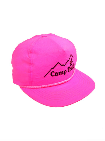 Glowing 80s Neon Pink Camp Trails Snapback Cap