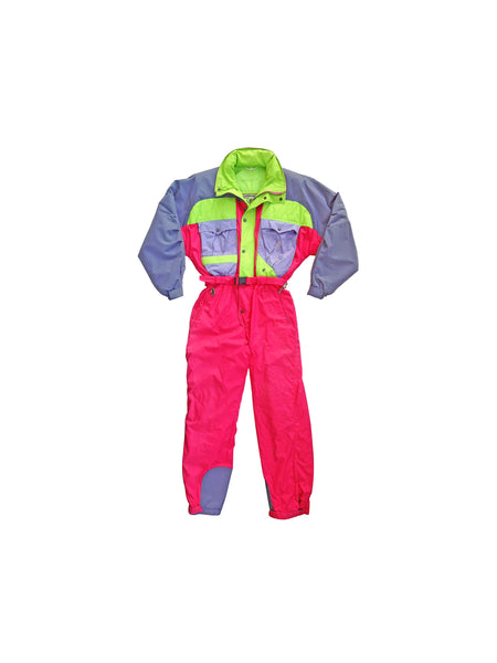 Rare 80s K2 Cliffhanger Neon Ski & Snowboard One Piece Snow Suit - L / XL