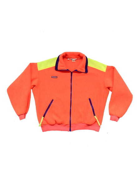 Rad 90s Neon Orange Columbia Fleece Colorblock Zip Sweater - M / L