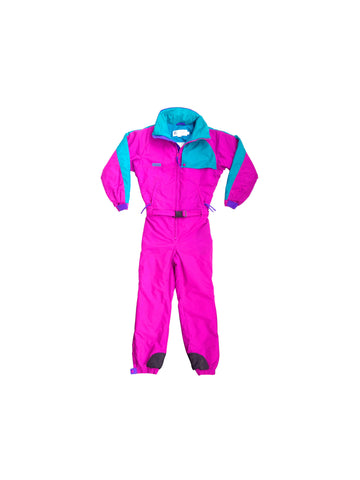 SOLD - Bold 90s Fuchsia Columbia One Piece Ski Suit - S / Y-XL