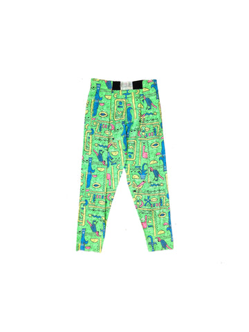 SOLD - Mystic 80s Neon Hieroglyphics Body Buffs Surf Pants - 26 to 36