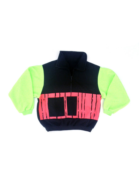 SOLD - Intense 90s Neon Cultural Explosion Fleece Pullover - L