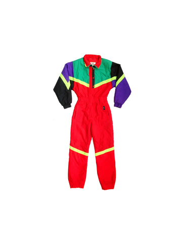 SOLD - Extreme 80s Neon Ispo Blazing Red One Piece Ski Suit - S