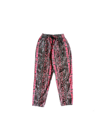 SOLD - Wicked 80s Neon Fuzz Vertical Tribal Stripe Surf Pants - 24 to 32