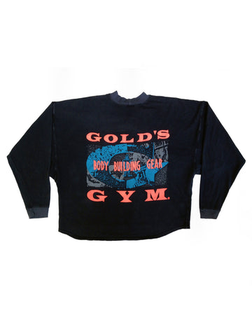 SOLD - Bodacious 80s Neon Gold's Gym Wide Cropped Muscle Crewneck - L