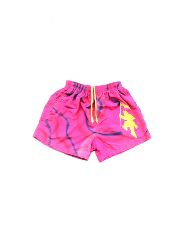 SOLD - Rad 90s Neon Gotcha Spray Paint Print Swim Trunks - 26 to 34
