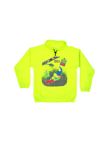 Insanely Neon 90s Fleece High Peak Snowboard Pullover - M / L