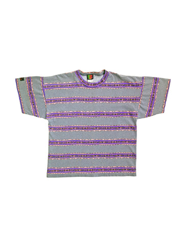 Gnarly 80s Hobie Neon Allover Static & Stripes Surf T-Shirt - L