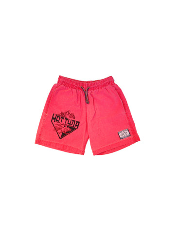 SOLD - Heavy Duty 80s Neon Salmon Hot Tuna Cotton Shorts - 27 to 34