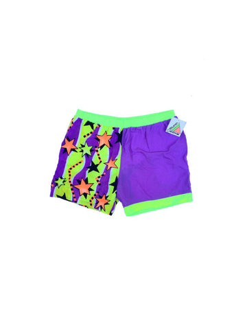 SOLD - Deadstock 90s Neon Surf Zone Swim Trunks - 36 to 42