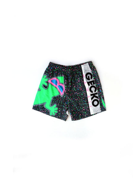 SOLD - Wild 80s Gecko Hawaii Neon Splatter Cotton Shorts - 27 to 32