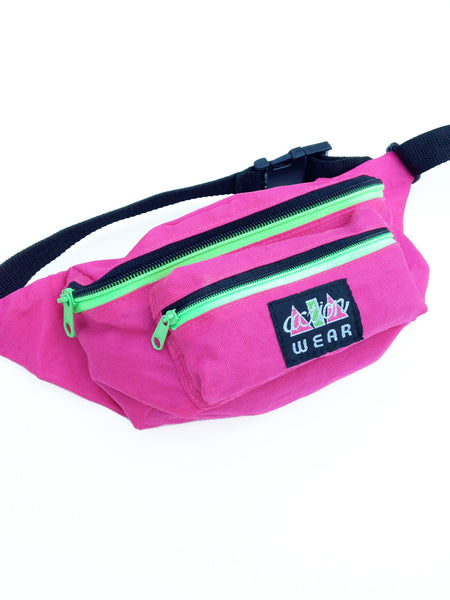 "SOLD - 80s Neon ""Action Wear"" Fanny Pack - 24 to 40"