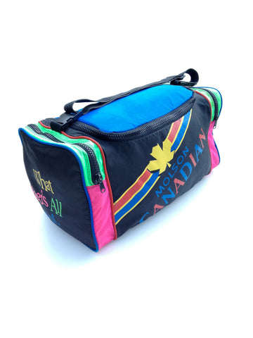 SOLD - 1988 Neon x Color Block Molson Canadian Duffle Bag