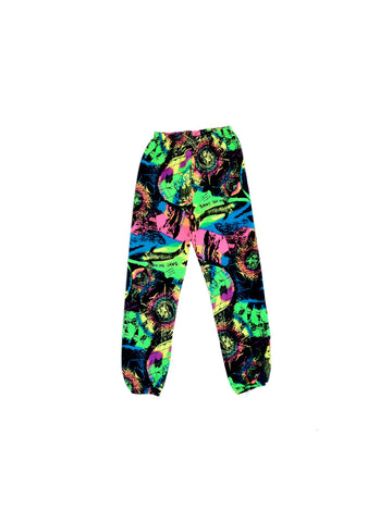 SOLD - Crazy 80s Neon Save the Whales Sweat Pants - 24 to 29