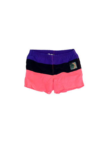 SOLD - Stellar 80s Neon Colorblock Surfer Swim Trunks - 36 to 40