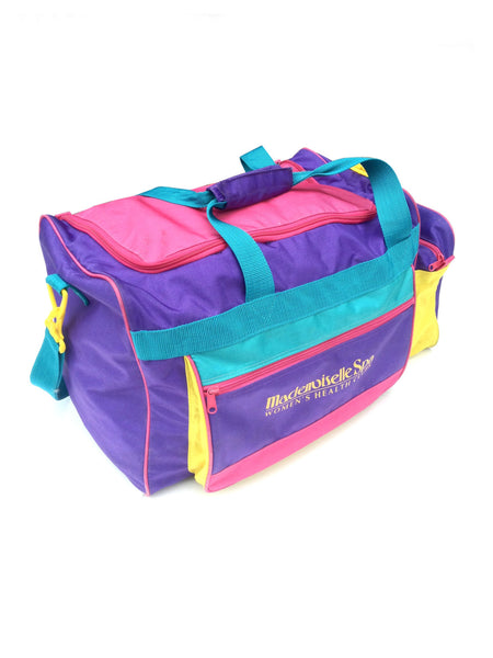 SOLD - Awesome 90s Colorblock Mademoiselle Spa Duffle Bag