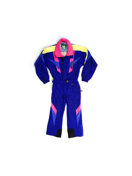 SOLD - Totally Rad 80s Hard Corps One-Piece Snowsuit - L