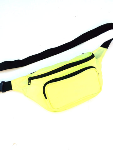SOLD - Classic 80s Neon Yellow Tri-Pouch Fanny Pack - 24 to 36