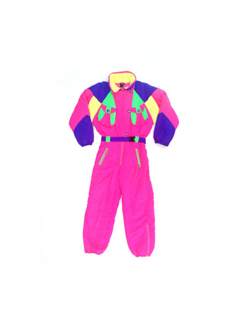 SOLD - Rad 80s Tailor-Made Extreme Quad Neon WTF Snow Suit - M / L