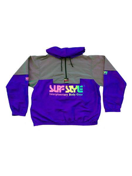 SOLD - Deluxe 90s Neon Surf Style Windbreaker W/ Rare Pouch & Hood Combo - XL