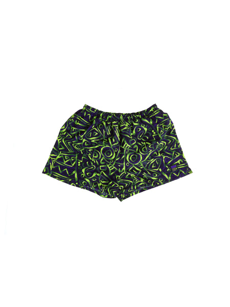 SOLD - Mystic 80s Insport Neon Allover Print High Density Nylon Running Shorts - 28 to 38