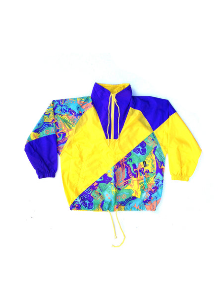 SOLD - Wild 80s Abstract Neon Ispo Acid Trip Wind Jacket - M