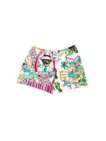 SOLD - Insane 80s Neon Panama Jack Surf Craziness Cotton Shorts - 32 to 38