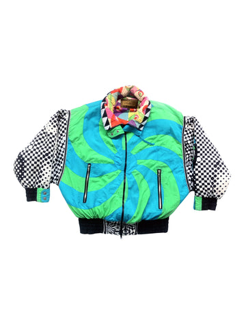 SOLD - Trippy 80s J. Gallery Psychedelic Puffy Flight Jacket - S / M