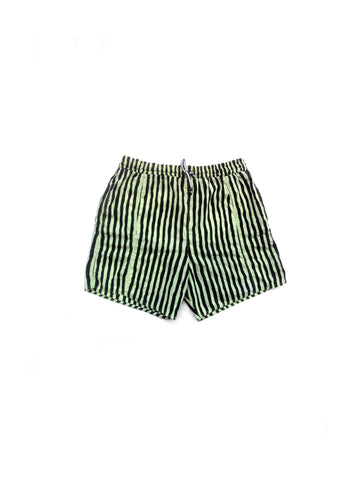 SOLD - Wicked 90s Neon Vertical Striped Swim Trunks - 30 to 38