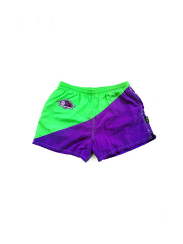 Rad 90s I Dig Curvy Colorblock Purp & Greenery Swim Trunks - 30 to 36