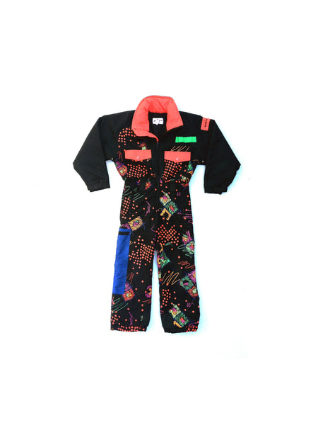 SOLD - Insanely Rad 80s Obermeyer Neon Abstract One Piece Snow Suit - XXS