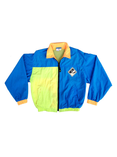 SOLD - Gnarly 80s Ocean Pacific Neon Downhill Skiing Lined Windbreaker - M