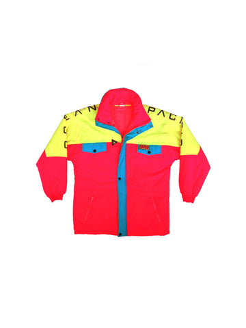 SOLD - Rad 80s Neon Ocean Pacific Extended Length Ski Parka - XL