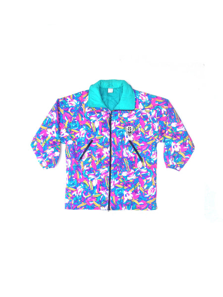 SOLD - Beautifully Rad 90s Neon Ocean Pacific Paint Stroke Parka - L
