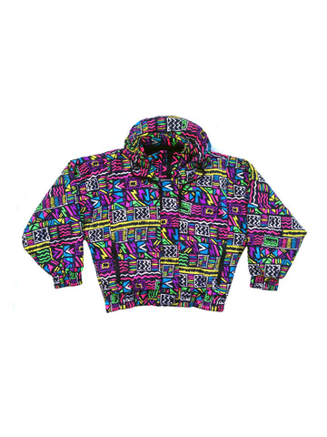 SOLD - Wild 90s Allover Neon Tribal Park City Snowboard Jacket - M