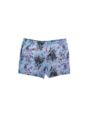 Extreme 80s Neon Allover Print Tribal Surf Swim Trunks - 42 to 44