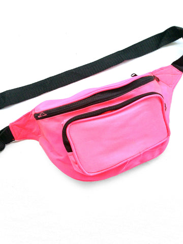 SOLD - Classic 80s Hot Neon Pink Rave Fanny Pack - 26 to 48
