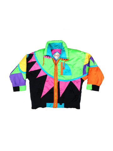 SOLD - Rare 80s Neon Pizzaz Rays of Sunshine Ski Jacket - XL