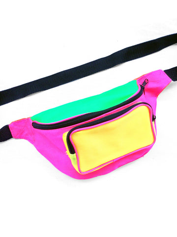 SOLD - Gnarly 90s Glowing Quad Neon Unbranded Fanny Pack - 24 to 48