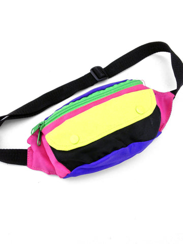 SOLD - Wild 80s Five Color Block Fanny Pack - 24 to 32